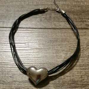 Jewelry - Black cord necklace with silver heart